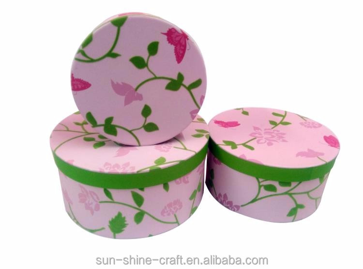 High quality round paper box set with lid for storage of home and office