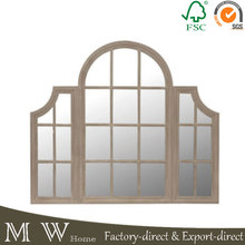 Antique Classic Handcrafted Three Way Wooden Window Mirror for Home Decoration or Dressing Up