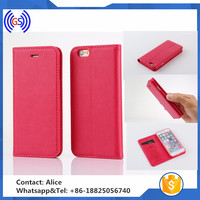 Hot pink flip leather back cover cases for iphone 6, Fashion Sex lady leather case for iphone 6