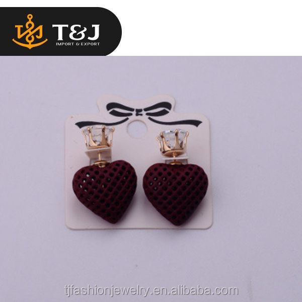 <<Wholesale Hot Sale Fashion Alloy Elegant Heart Red Jewelry Trendy Crystal Women Stud Earring Good Decoration/