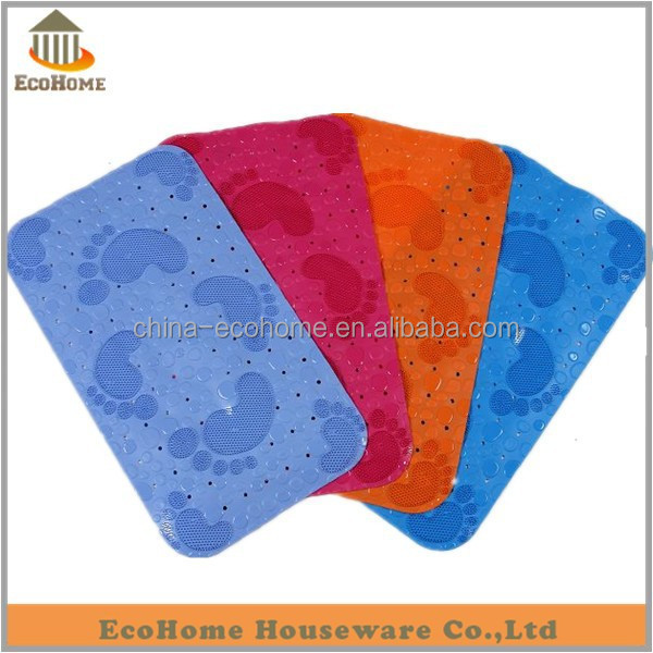 blue color foot shaped plastic mat