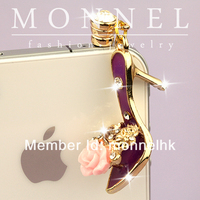 ip156 Wholesale Pink Flower Purple High Heel Shoe with Anti Dust Phone Plug Charm for iPhone Android