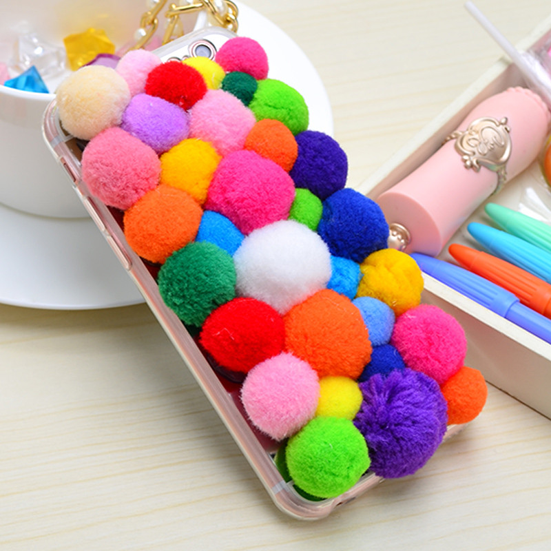 2015 Christmas Gift New Design Colorful Cute 3D Fur Candy plush Ball Cover Case For iPhone 6S Plus/6 Plus/6S/6/5S