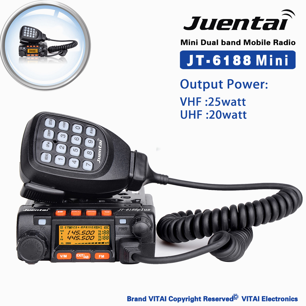 JT-6188 Dual Band Mini VHF 25Watt UHF 20Watt 200 Channels Mobile Two Way Radio