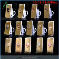 Newest 360 rotating Ring with mirror Stand TPU Cover Case For Apple iPhone 5 G 6 6S Plus