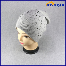 HZM-17001002 2017 Knit Design Girl Sexy Fashion Ladies Shiny Crystal Hat