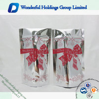 accept custom shiny Christmas gift packaging bag resealable custom aluminum foil packaging bags
