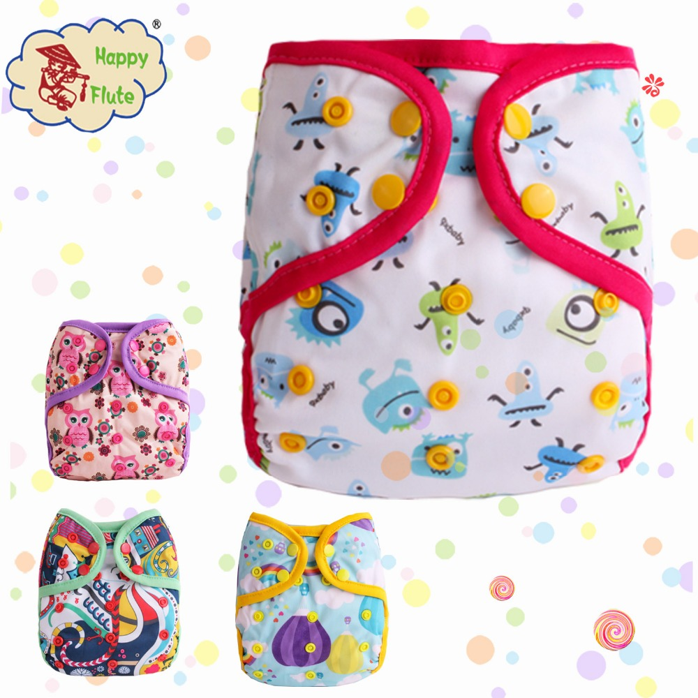 Happy flute color-edged cloth diaper cover printed PUL baby cloth diaper wholesale