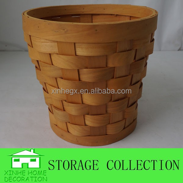decorative woven wood waste paper basket