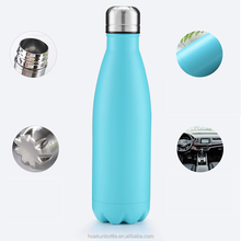 Custom vacuum hydro flask thermos double wall stainless steel cola shaped sport water bottle,leakproof outdoor drinking bottle