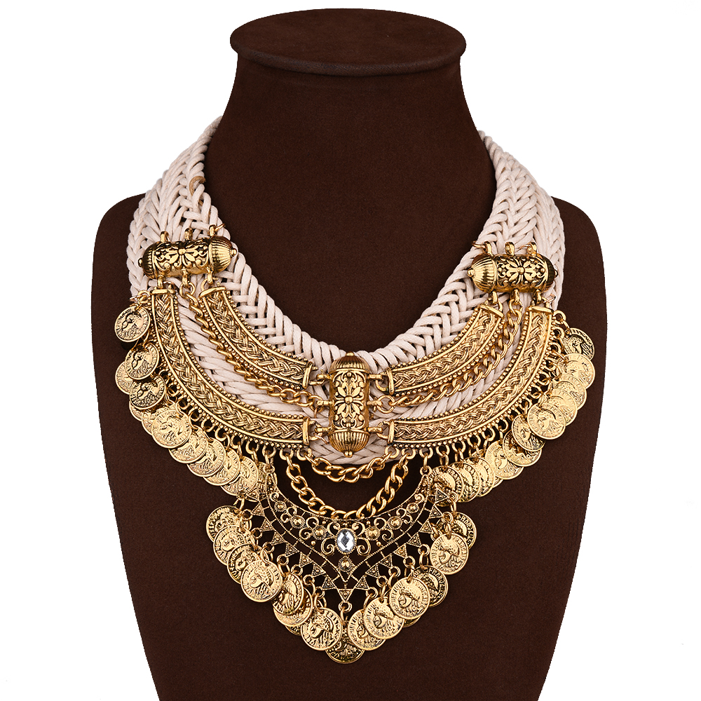 Wholesale african style statement jewelry gold plated heavy necklace