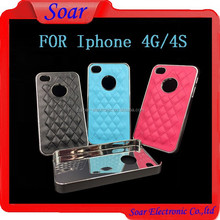 High Quality PU Leather Phone Case For Iphone 4, Metal Back Cover Case For Iphone 4
