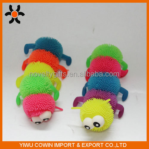 Hot sales fashion caterpillar animal puffer ball,soft TPR toy, flashing ball.