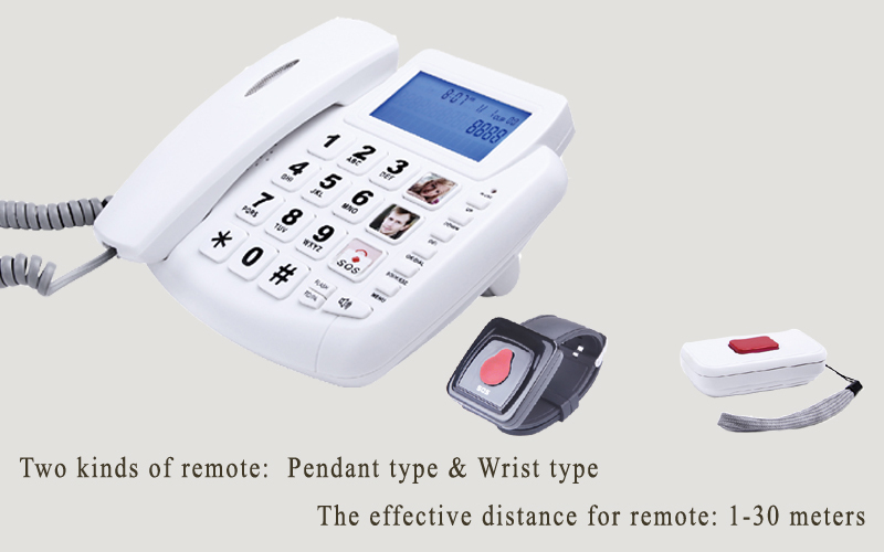 health elderly care products sos senior corded phone emergency phone with remote pendant