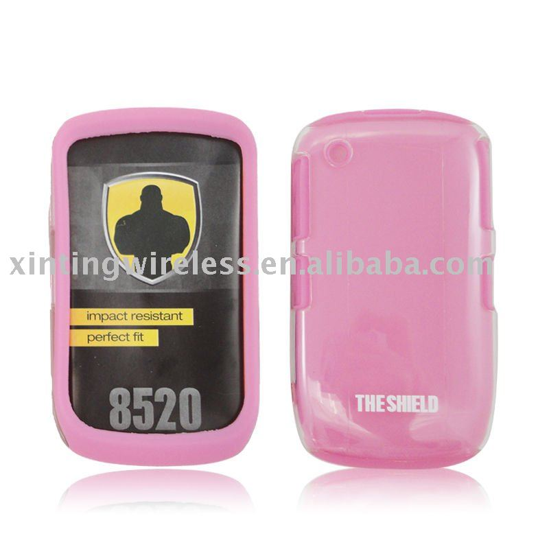 tranparent crystal + pink silicone case for blackberry 8520