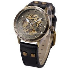 Vintage Bronze Steampunk Skeleton Automatic Mechanical Analog Men Watch