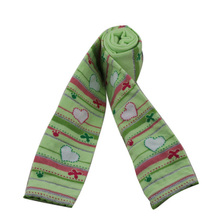 GSL-03 colorful heart and striped design light green fancy knitting children girls legging