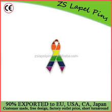 Custom top quality enamel Gay Pride Awareness Ribbon Pin