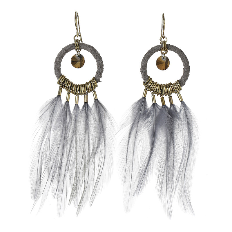Wedding Zircon Stone Gray Feather Earring Indian Jewellery