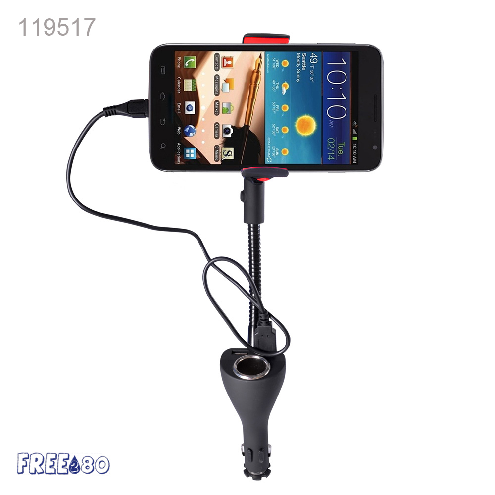 2016 Universal 5V 2.1A Dual USB Port Gooseneck Mobile Phone Car Holder With Charger 360