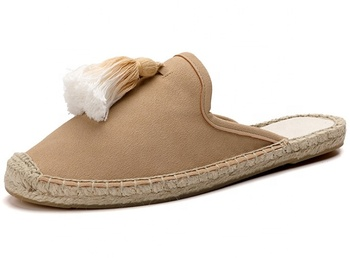 Women Slip On Jute Sole Flat Canvas Shoes Espadrilles Sandals With Tassels