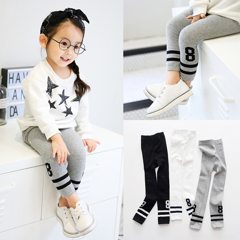 2017 Korean Style Kids Baby Autumn Winter Leggings Sports Tights Children Double Pole Number 3 Colors Trousers