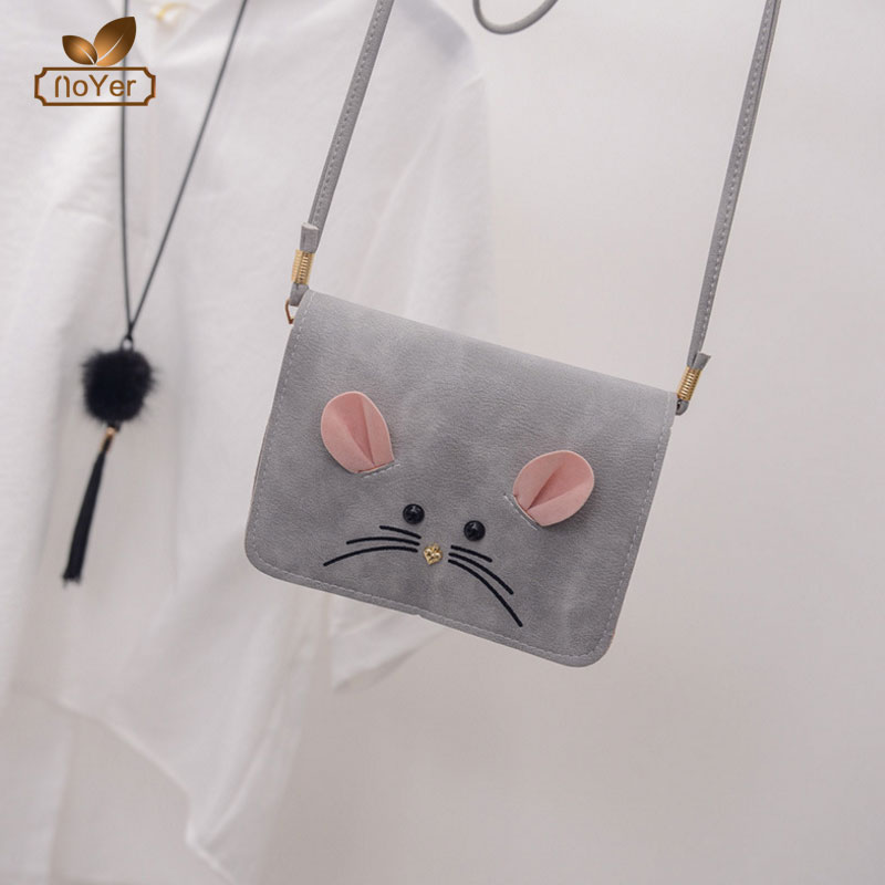 Shopping websites mouse design cell phone leather sling bag vintage women mini shoulder bags