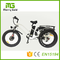 Powerful fat tire e trike 3 three wheel electric tricycle 48v 500w e tricycle with big strong baskets