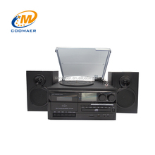 Modern Phonograph AM FM Radio Vinyl LP Record Turntable CD Cassette Tape Recorder Player With USB SD