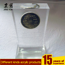 Clear pmma plexiglass coin block acrylic coin paperweight with base