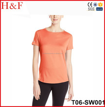 Wholesale sport dry fit 100 polyester round neck t shirt for women
