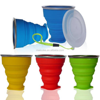 wholesale travel folding drinking cup colorful collapsible silicone cup