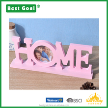 Pink wood craft Letter HOME picture photo frame