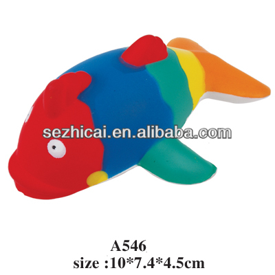 PU toy Pu foam anti stress ball squeezable animal, multicolor color Fish shaped foam stress ball for promotional gift