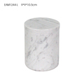 Round White carrara marble jar with marble lid