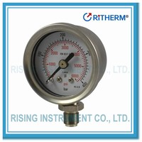 13000501Stainless steel, crimped ring, liquid fillable wise pressure gauge