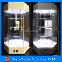 Hot sale custom rotating led big plexiglass cabinets/plexiglass display cabinet