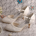 Women's Round Toe Buckle Cone Heel Lace Shoes Bridal