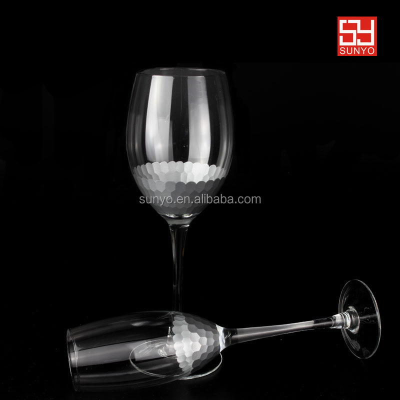 High quality carving honeycomb Amazon wine and champagne glass with polyform glass re-posted package