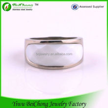 Sale jewelry women 's stainless steel white resin big stone ring designs J5-0069