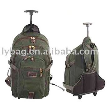 green canvas trolley knapsack