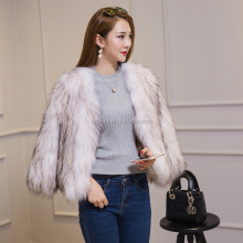 Classical Natural Real Raccoon Fur Knitted Fur Coat for Women