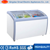 Commercial transparent curved glass door chest freezer with ETL