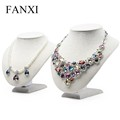 FANXI custom creamy white linen jewelry display neck stands necklace/pendant display for counter jewelry display bust