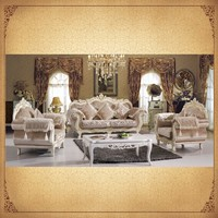 Cream Elegant Gilt Wood 1+2+3 Sectional Living Room Sofa Antique Ornate Furniture