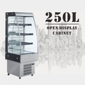 250L Supermarket Drink and Beverage Showcase Glass Door Open Air Display Refrigerator With LED Light