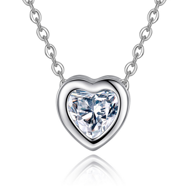 Transparent heart pendant necklace love you heart pendant zircon necklace <strong>jewelry</strong>