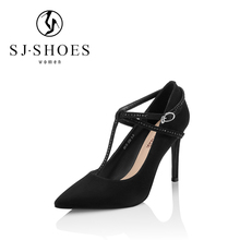 A0588 new design suede leather high heels black t strap shoes