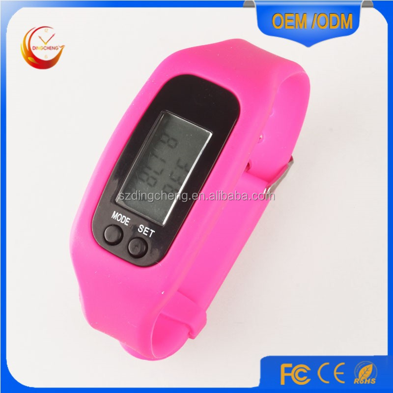China supplier digital watch silicone wristband pedometer