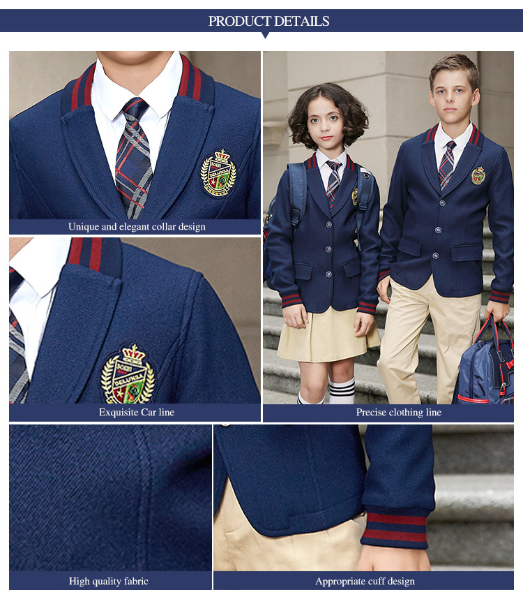 Custom New Design Spring School Uniform Blazer Unisex with Long Sleeve for Student Wear